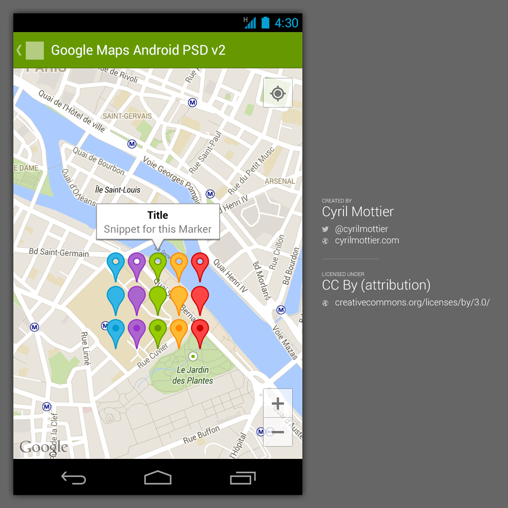 """Preview of Google Maps Android PSD v2"""